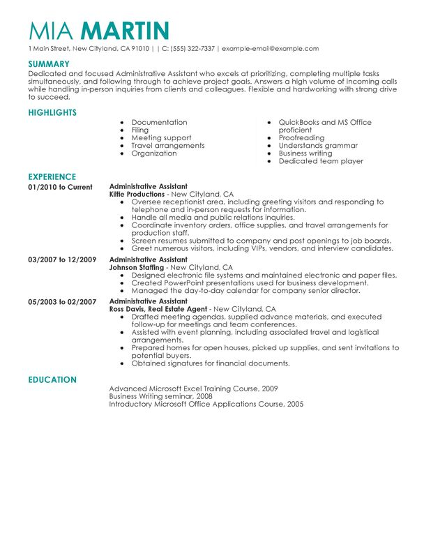 Unforgettable Administrative Assistant Resume Examples To