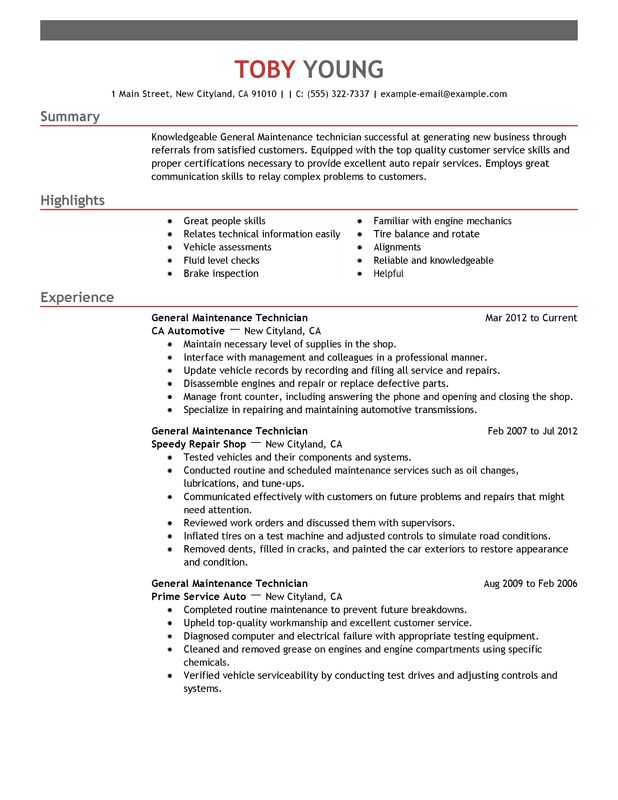 unforgettable general maintenance technician resume examples to
