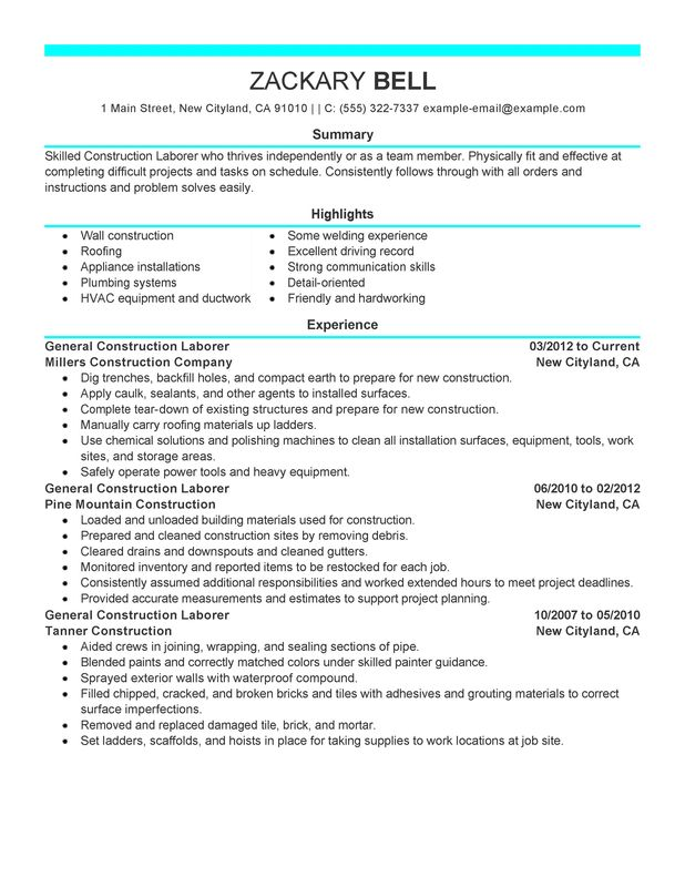 Construction Resume Example  Resume Examples And Free Resume Builder