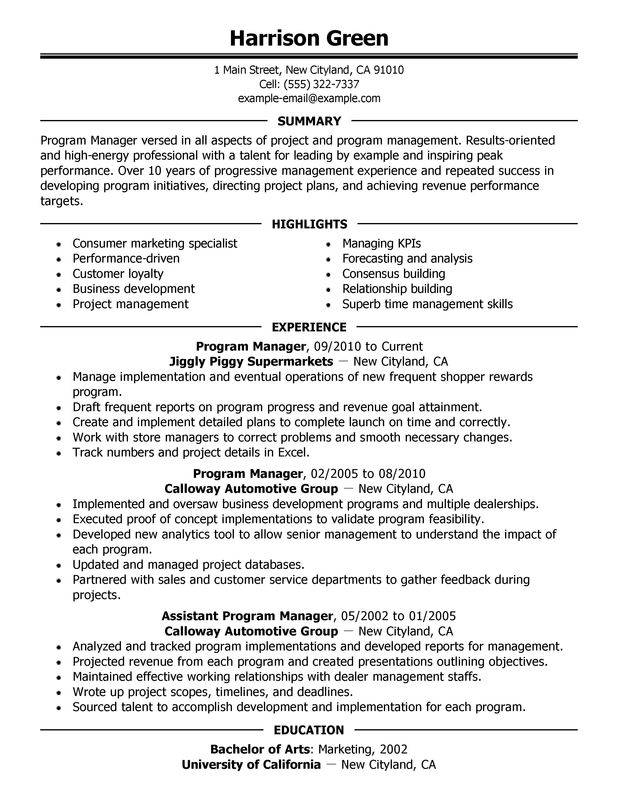 Impactful Professional Management Resume Examples  Resources