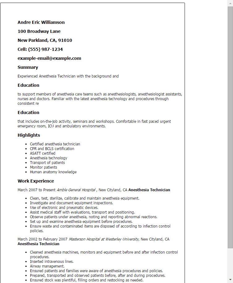 Sample Nurse Anesthetist Resume] Example Nurse Anesthetist Resume .