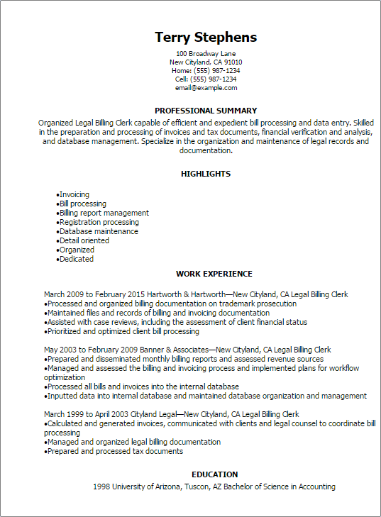 sample law clerk resume