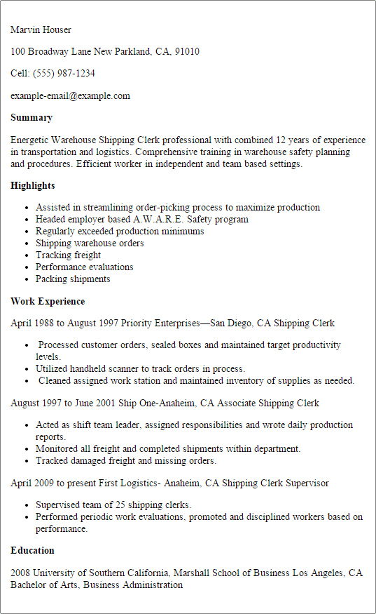 resume examples for warehouse