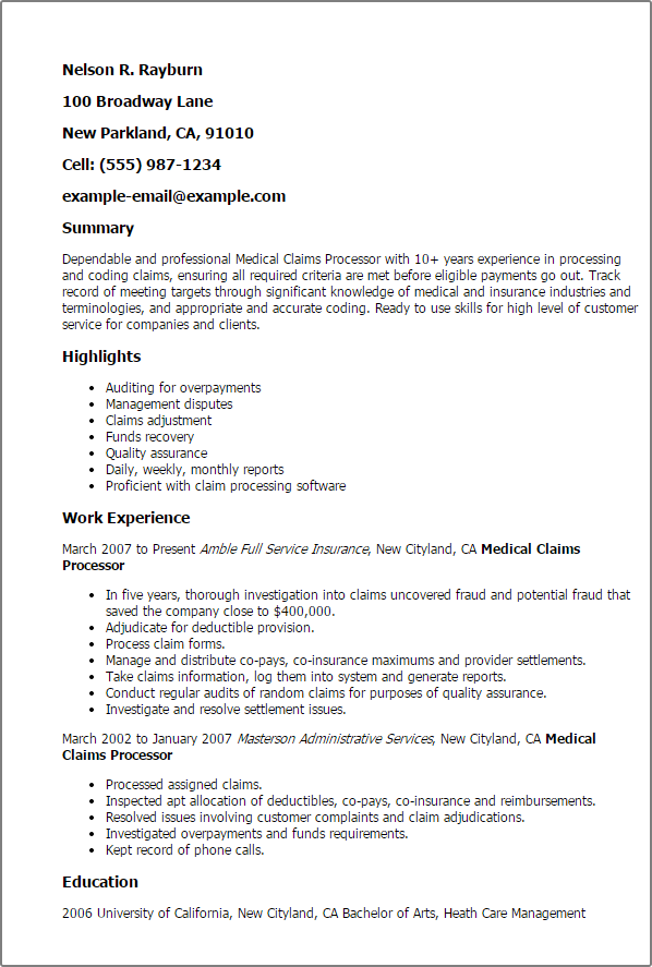 Professional Medical Claims Processor Templates to Showcase Your – Insurance Customer Service Resume