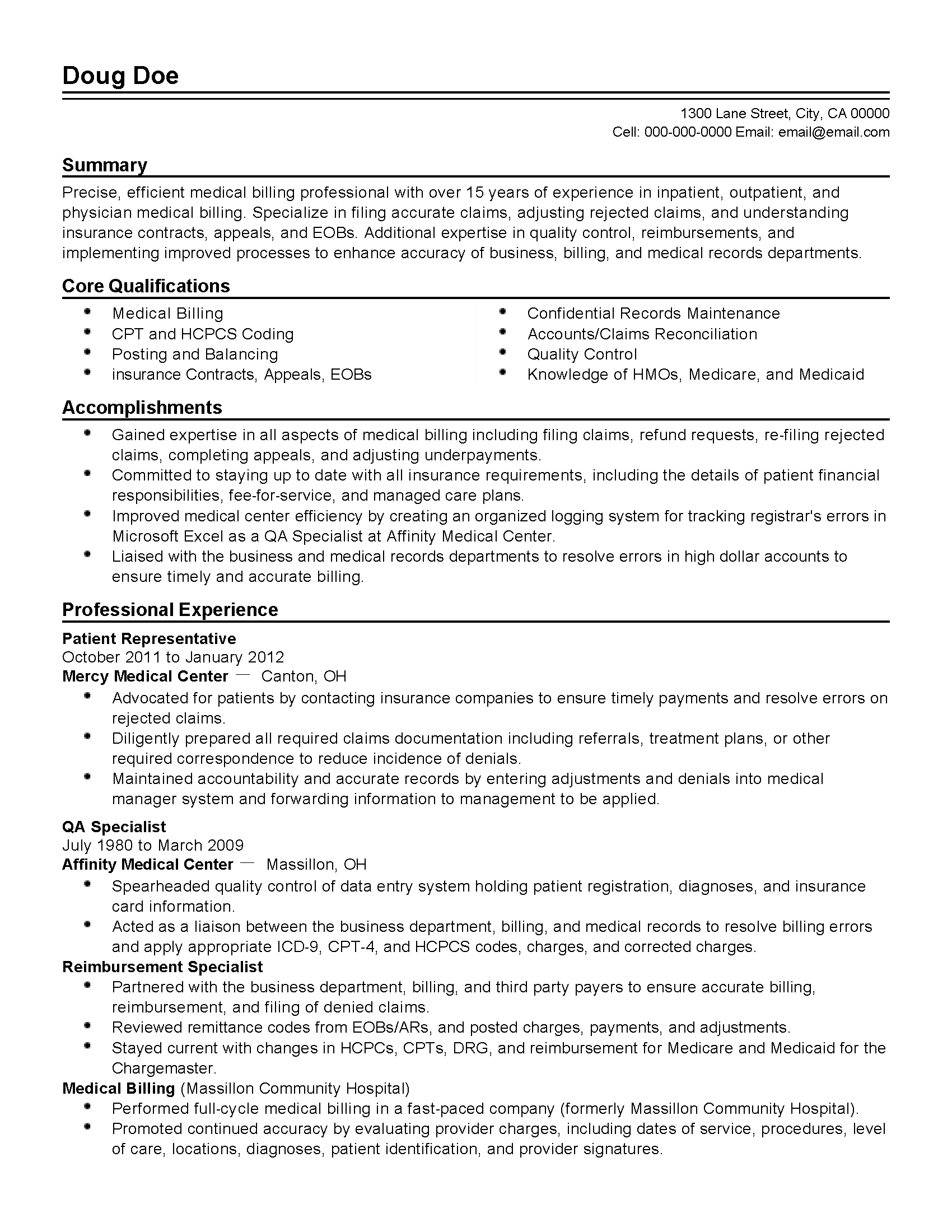 Professional Medical Billing Professional Templates to Showcase – Medical Billing Resumes
