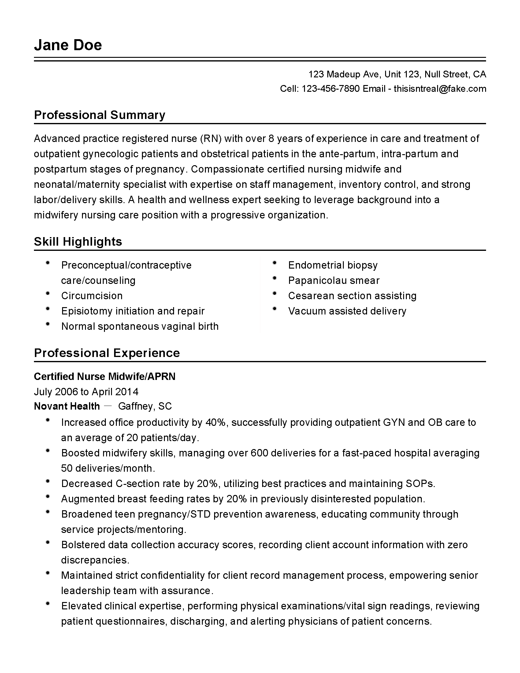 practice nurse sample resume