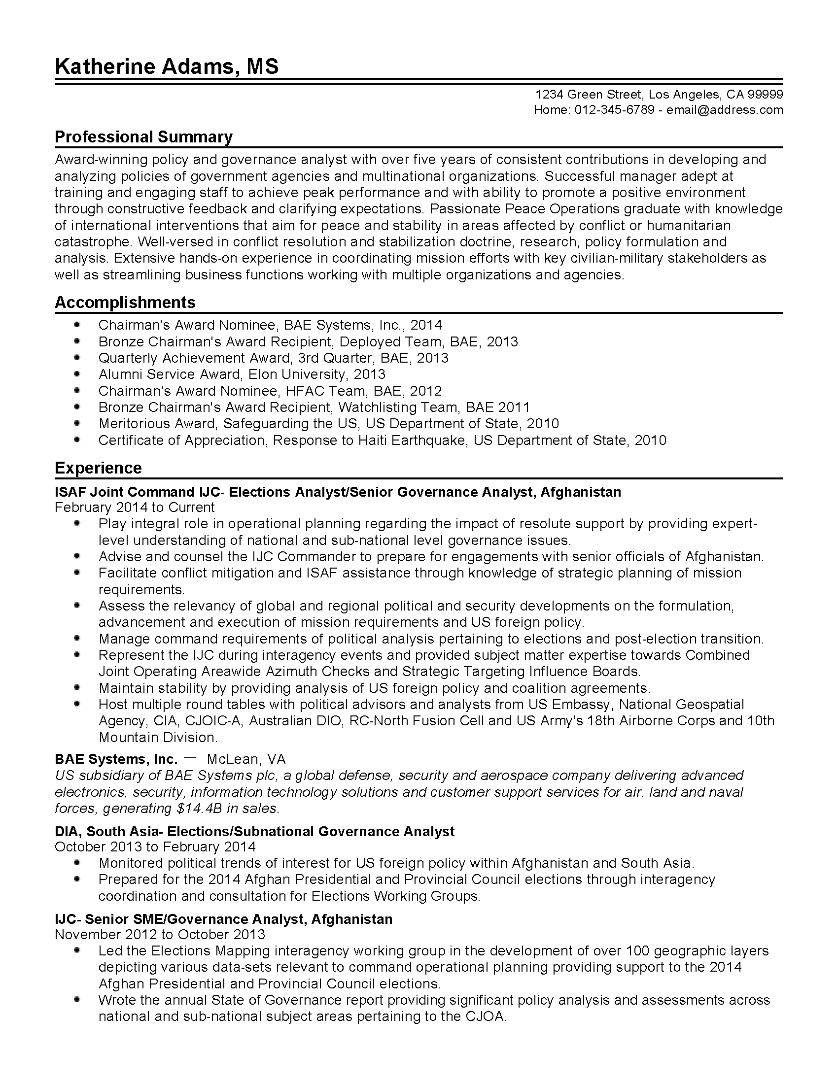 resume templates policy and governance analyst