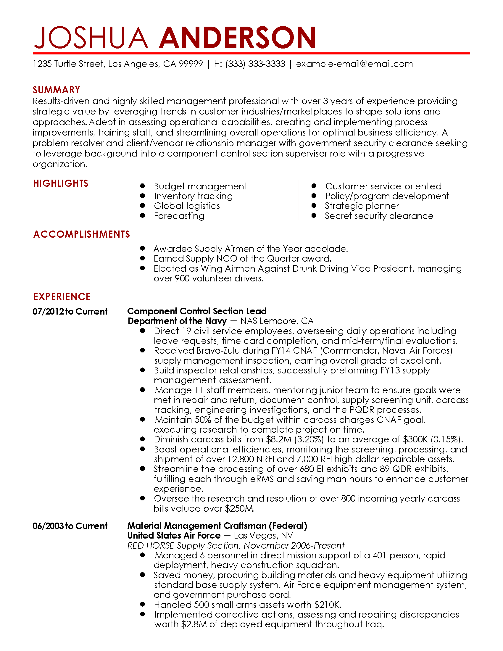 Construct A Functional Resume Resume For Management Experience
