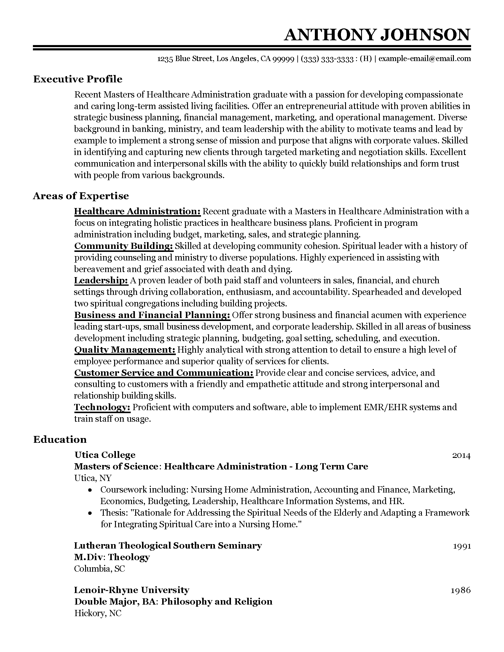 entry level healthcare administration - Resume Sample For Entry Level
